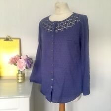 Kew blue smock style blouse crochet embroidered size 12 T2