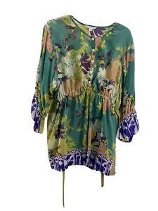 CAbi Babydoll Empire Waist Tunic Blouse Sz XL 3/4 sleeve multicolor floral