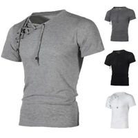 Summer Mens Causal T Shirt Tops Lace Up Muscle Slim Fit GYM Sport Tops Beach Tee