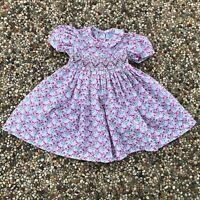 Friedknit Creations Smocked Bishop Dress Short Sleeves Floral Girl's Size 18M