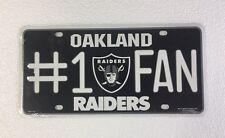 Oakland Raiders #1 Fan Auto Car Truck Metal License Plate Tag New