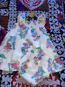 New Baby Girls Joules Cream Floral Dress And Matching Pants, Age 9-12 Months