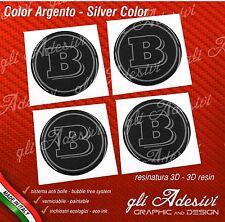 4 Adesivi Resinati Sticker 3D BRABUS Smart 50 mm Nero e Argento GEL cerchi