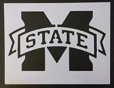"""Msu Mississippi State Ribbon Emblem 8.5"""" x 11"""" Stencil Free Shipping"""