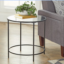 Round Side End Table Glass Top Modern Gold Metal Base Accent Decor Furniture New