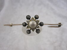 Victorian Rose Cut Diamond And Pearl Brooch