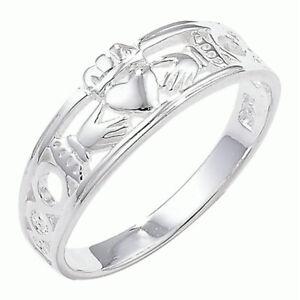 NEW Ladies Silver Celtic Irish Claddagh Band Ring Size P Jewellery