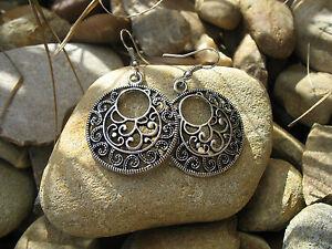 Antique Vintage Tribal Gypsy Retro Bohemian Exotic Round Botanic Silver Earrings