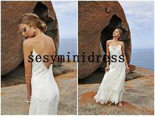 Spaghetti Straps Sexy Backless Beach Wedding Dress Bridal Gown Custom Size 4 6+