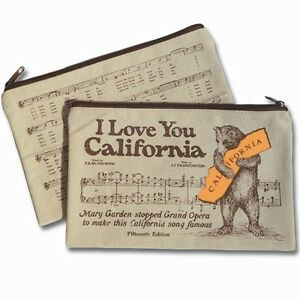 New Bear Hug  I Love You California Music Cover Sheet Canvas Zipper Pouch Bag