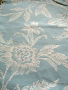 1.5 METRE DUCK EGG/ CREAM DAMASK LIKE CURTAIN FABRIC, LARGE FLORAL DESIGN,