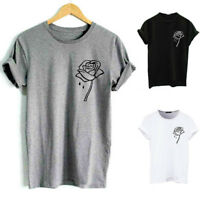 Rose Printed Short Sleeve Custom Top Tee Cotton O Neck Soft T-shirt Men Slim Fit