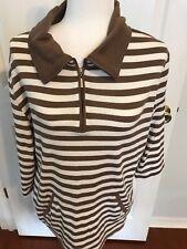 Lauren Scott Sport. XL XLarge Shirt. Striped Brown And White. 3/4 Sleeve.