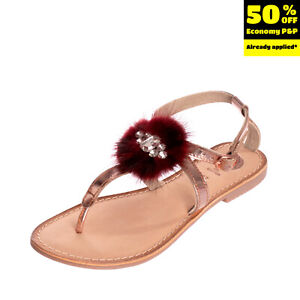 GIOSEPPO Leather Ankle Strap Thong Sandals Size 38 UK 5 US 8 Metallic Effect