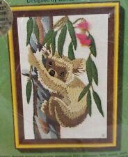 New listing Koala crewel embroidery kit jiffy stitchery Sunset Designs vintage 1977 open pkg