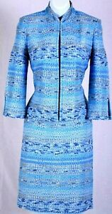 ST.JOHN Womens Suit Knit Tweed Blue White Tan Boucle Jacket & Skirt Sz 6