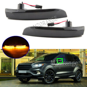 Smoked LED Door Wing Mirror Light Lamp For Ford Kuga MK2 EcoSport Escape 2013-21