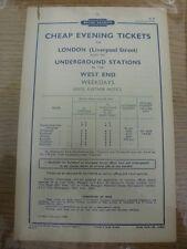 Feb-1958 Railway Handbill: British Railways - Cheap Evening Tickets to London (f