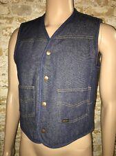 Vintage 70s ROEBUCKS SEARS Denim SHEARLING LINED JEANS VEST Work Jacket Medium
