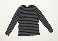 H&M Womens Size 11-12 Striped Cotton Grey Long Sleeve T-Shirt (Regular)