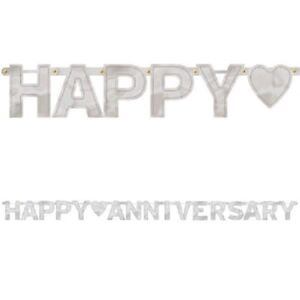 25th Happy Anniversary Banner Silver Party Supplies Decorations 7.8'