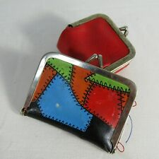 Vintage Travel Sewing Kit & Coin Purse Metal Clasp 1950s Vinyl Patchwork Design