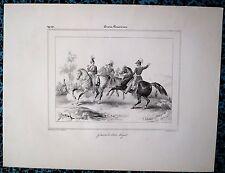 Lithographie de Delaunois,Général & Etat Major Prussien