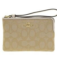 NWT Coach F58033 Outline Signature Corner Zip Wristlet Khaki Chalk $65