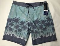Roundtree & Yorke Mens Board Shorts 34 Swim Suit Green Palm Trees Cotton Bld NEW