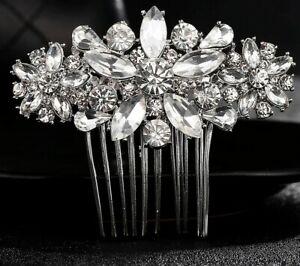 Wedding hair Accessories Crystal Silver Hair piece pearl Comb Pin Bridal Bride 1