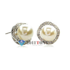 Delicate Pearl Earrings 18K White GP Swarovski Crystal Ear Stud Womens Jewellery