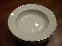 Heinrich China - Silver Greek Key - Set of 4 Rimmed Soup Bowls - Bavaria