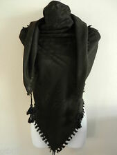 Solid All Black Plain Arab Shemagh Head Scarf Neck Wrap Cottton Palestine Arafat