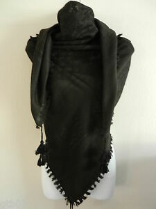 Solid Black Unisex Shemagh Head Scarf Neck Wrap Authentic Cotton Face Cover Army