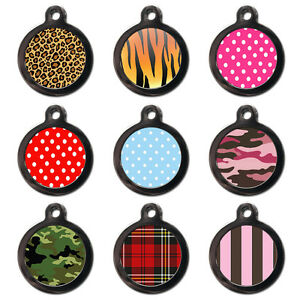 Cool Custom Personalised Patterned Dog Cat Name ID Tag Pet Tags - Engraved FREE