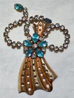 Vintage M & S 12K Gold Filled Artistic White & Blue Rhinestone Bow w/ Flower Pin