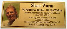 Cricket Shane Warne Gold Plaque World record Picture