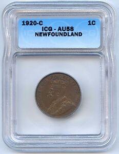 1920 C Newfoundland Large Cent. ICG Graded AU 58. Lot #2456