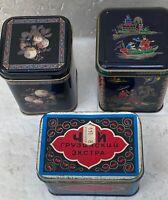 Lot of 3 Original Vintage Black Tin Tea Boxes; Daher Asian Beriozka  Decorative