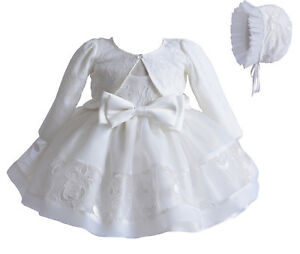 Baby Girls Ivory Lace Party Christening Dress Bonnet Jacket 0 3 6 9 12  Months