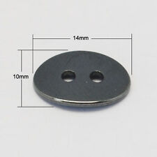10pcs Black Grade A Non-Magnetic Hematite Oval Buttons DIY 2-Hole:2mm 14x10x2mm