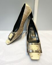 100% authentic Roger Vivier classic Snakeskin heels with classic Bucket, size 37
