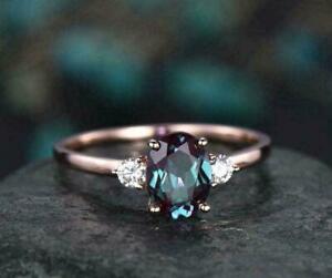 Gorgeous Alexandrite Diamond 2.60Ct Oval Cut Bridal Ring 14K Rose Gold Finish