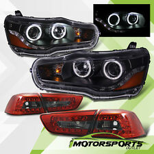 [CCFL Halo]08-15 Mitsubishi Lancer LED Black Headlights+Red Smoke LED Tail Lamps