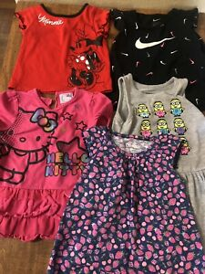 Girls Toddler 2T Summer Clothes Lot Hello Kitty, Minnie, Nike, T-shirts Dress