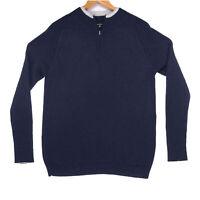Novica Men's Blue Peru Alpaca Blend 1/4 Zip Sweater - Size Large