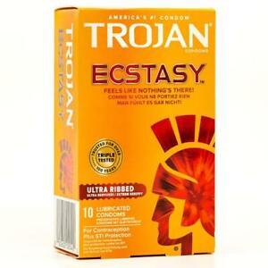 Trojan ECSTASY Ultra Ribbed Caja 10 Extra Lubricados Estimulante Canalé Condones