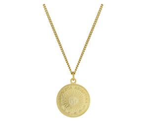 Halskette Vintage Peso Münze mit Sonne aus 925 Sterling Silber vergoldet, größen