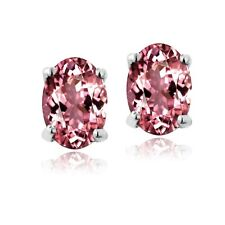 925 Silver .7 Ct Pink Tourmaline 6x4 Oval Stud Earrings
