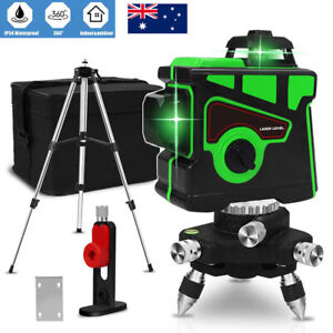 12 Lines Green Laser Level 360 Rotary 3D Self Leveling Cross Measure Tool Tripod